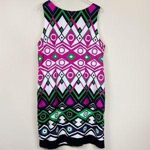 Leslie Fay | Geometic Print Shift Dress Sz 16